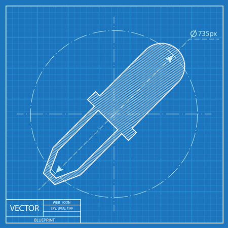 pipette: blueprint icon of pipette Illustration