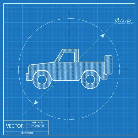 pickup: blueprint icon of pickup Illustration