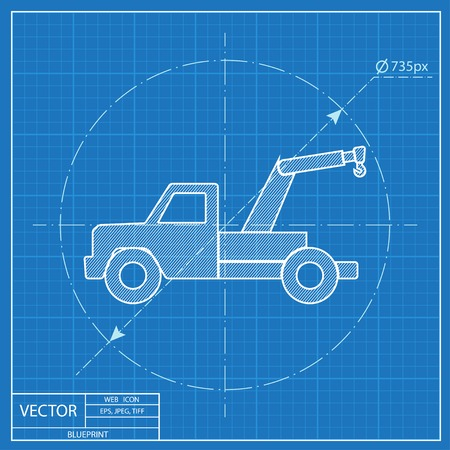 tow car: blueprint icon of tow car