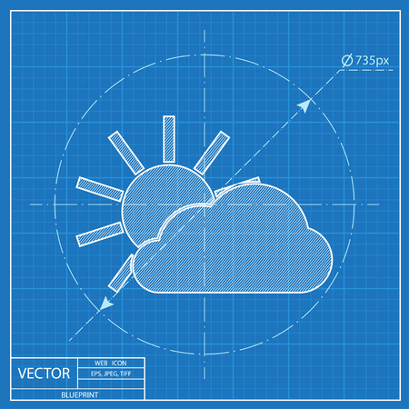 wheather forecast: blueprint icon of sun and cloud