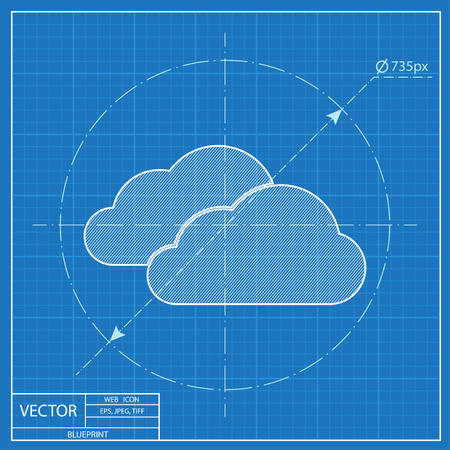 wheather forecast: blueprint icon of clouds