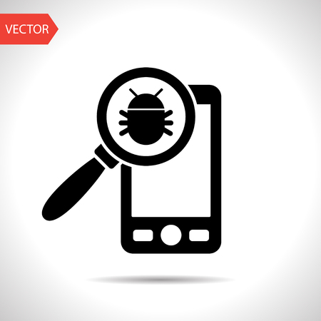 Bug in smartphone flat icon. Vector illustration concept of mobile phone with virus alert message.
