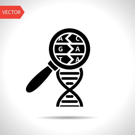 dna helix: DNA helix flat icon. Molecular biology science vector illustration