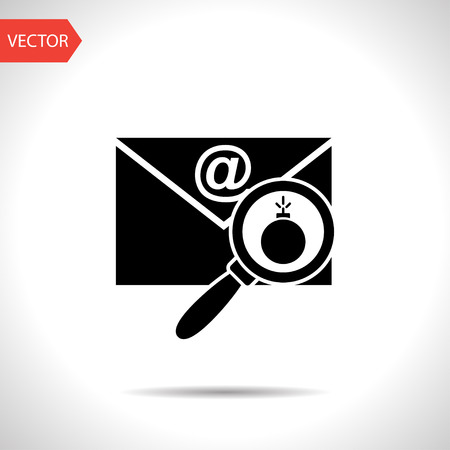 email bomb: mail bomb flat icon. explosive device in the envelope vector illustration Illustration