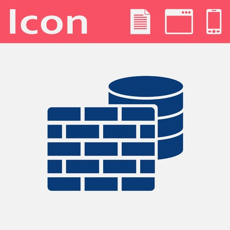 cylinder lock: Vector flat icon of firewall
