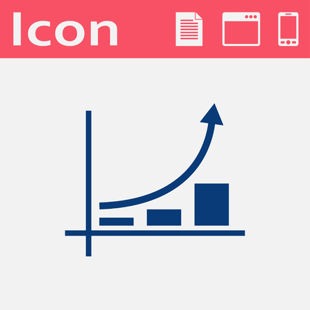bargraph: Growing bars graphic flat icon with rising arrow Illustration