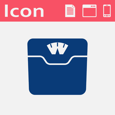 analog weight scale: Vector bathroom weight scale flat icon