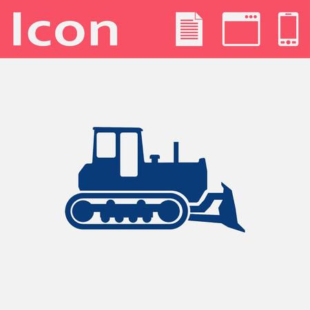 grader: bulldozer vector flat icon Illustration