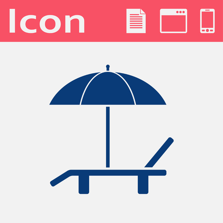 brolly: Beach vector flat icon. Umbrella with deck chair