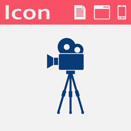 Movie camera on tripod flat icon Illustration