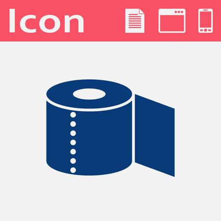 papel de baño: Papel higiénico icono plana Vectores