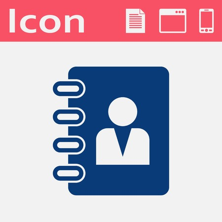 address book: address book flat vector icon