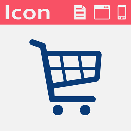 shopping cart icon: shopping cart flat vector icon