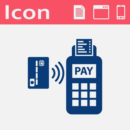 over paying: Card paying wirelessly over POS terminal. Vector flat icon.