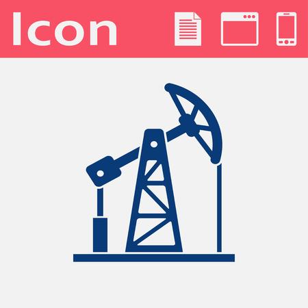 oilfield: oil pump jack flat vector icon
