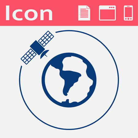 Vector artificial satellite in space, flat icon