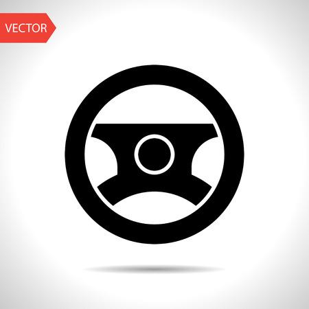 dashboard car: Car steering wheel symbol vector hmi dashboard flat icon