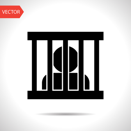 recluse: Jailed man, prison vector flat icon