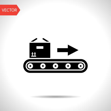 Transportband met doos vector flat icon Vector Illustratie