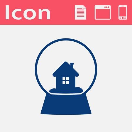 snowglobe: snowglobe with house vector icon Illustration