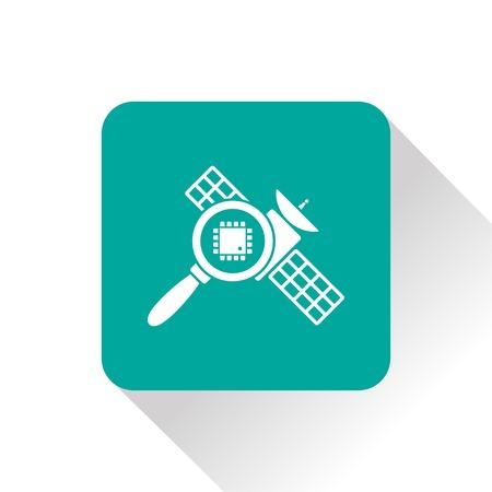 transponder: Space satellite inspection flat icon. Digital science vector illustration