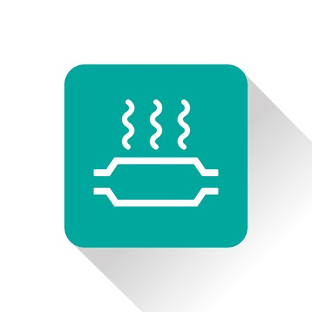 overheat: Catalytic converter overheat warning vector hmi dashboard flat icon Illustration