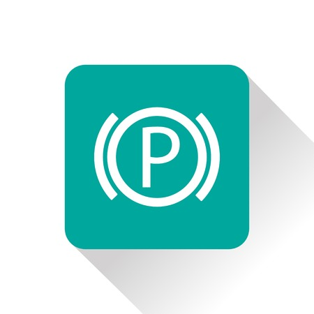 disk break: Car parking brake warning vector hmi dashboard flat icon