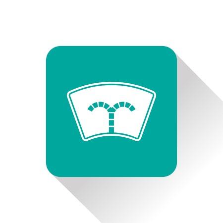 windshield wiper: Windshield washer symbol vector hmi dashboard flat icon