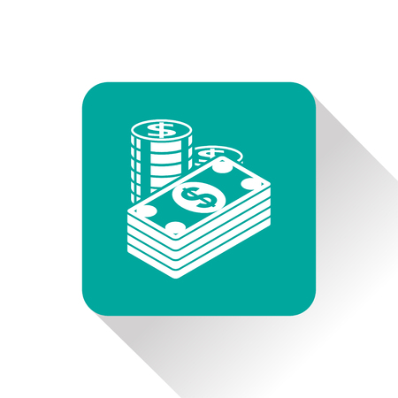 salaries: Cash illustration. Paper money with coins vector flat icon