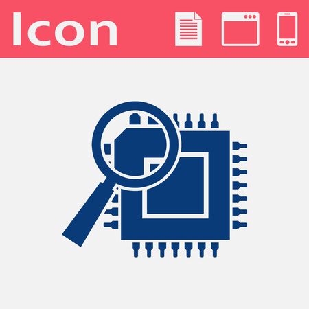 electronic circuit: icon of microchip discover