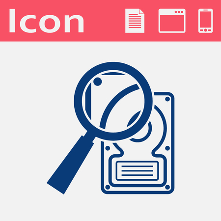 lens unit: icon of hard disk search
