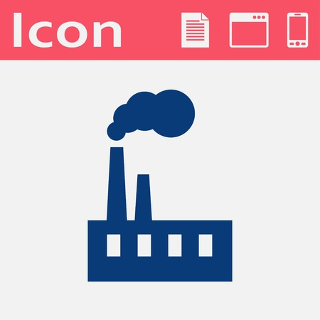 dangerous construction: flat icon of industrial factory