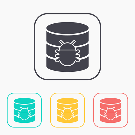 hard drive: Bug in database flat icon. Computing vector illustration Illustration