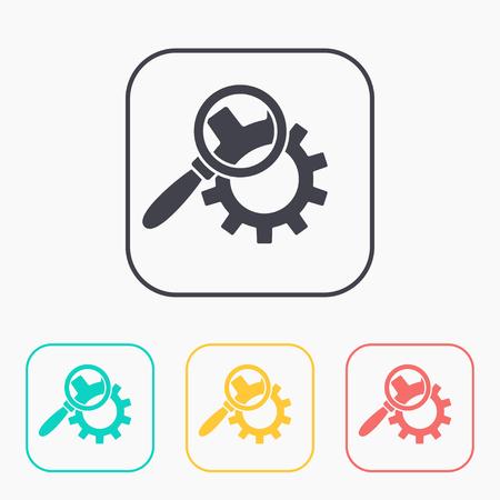 configuration: Cog wheels inspection flat icon. Configuration vector illustration Illustration