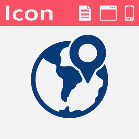 geolocation: earth with pin vector icon