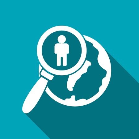 Global search person flat icon. Vector illustration.