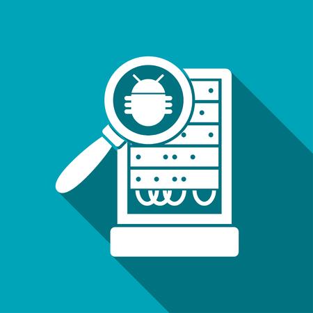 storage device: Database server bug inspection flat icon. Vector malware illustration Illustration