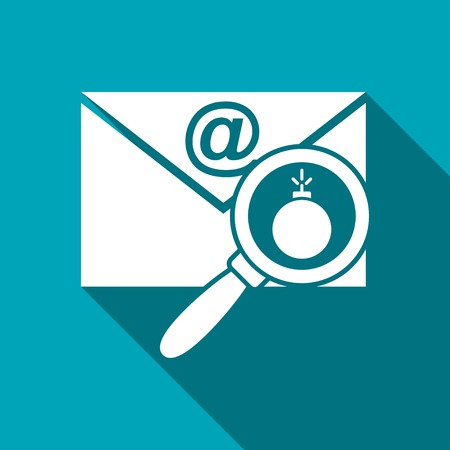 Mail bomb flat icon. explosive device in the envelope vector illustration Illustration