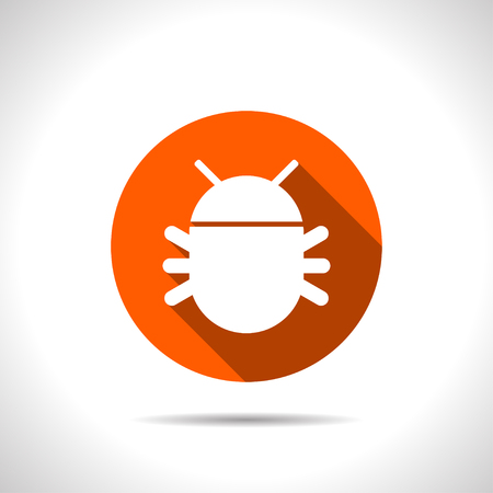 Bug flat icon. Vector illustration