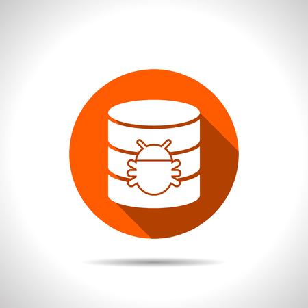 protected database: Bug in database flat icon. Computing vector illustration Illustration