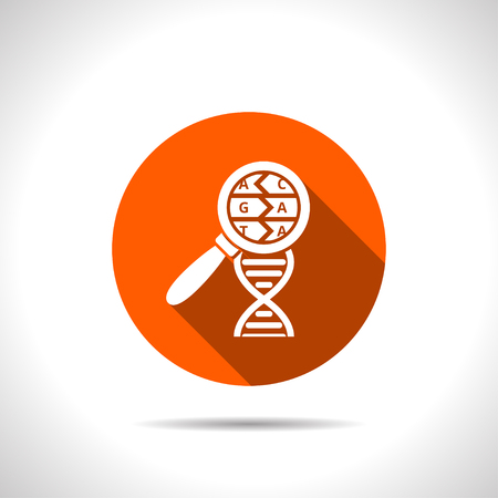 DNA helix flat icon. Molecular biology science vector illustration
