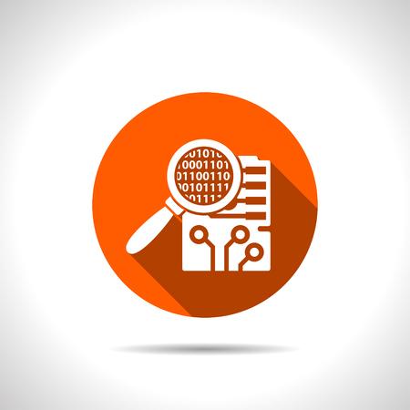 electronic circuit: Circuit board inspection flat icon. Digital service vector illustration Illustration