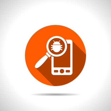 malware: Bug in smartphone flat icon. Vector illustration concept of mobile phone with virus alert message.