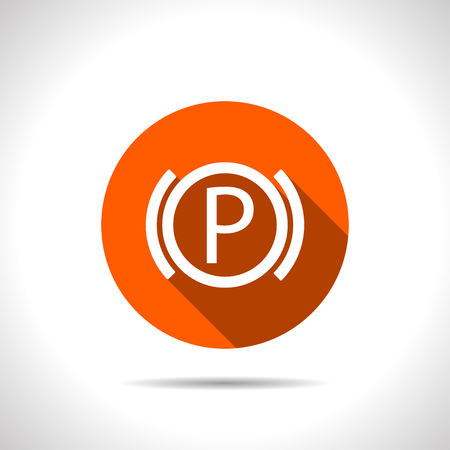 disk break: Car parking brake warning vector hmi dashboard flat icon.