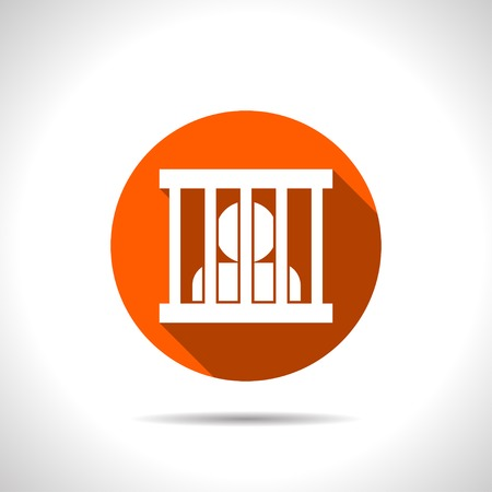 Jailed man, prison vector flat icon. Illustration
