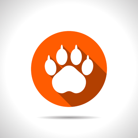 Animal paw footprint vector flat icon.