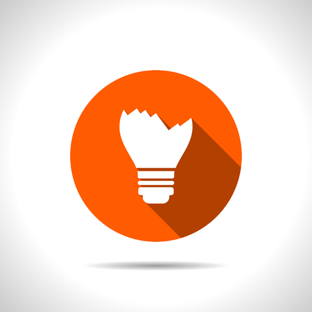 Broken light bulb vector flat icon.