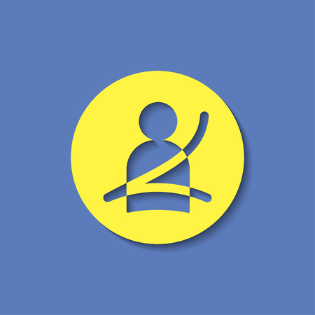 Seat belt fasten remind vector hmi dashboard flat icon