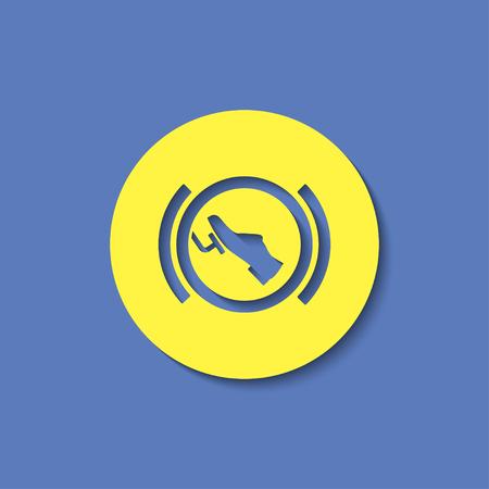 Press break pedal warning vector hmi dashboard flat icon Çizim