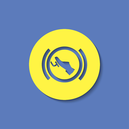 Press break pedal warning vector hmi dashboard flat icon Illustration